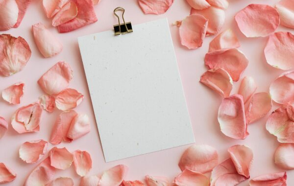Blank Menu on a bed of Rose Petals